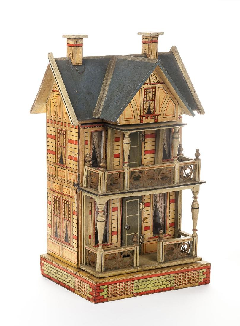 Litho Paper Over Wood Doll House with Furniture