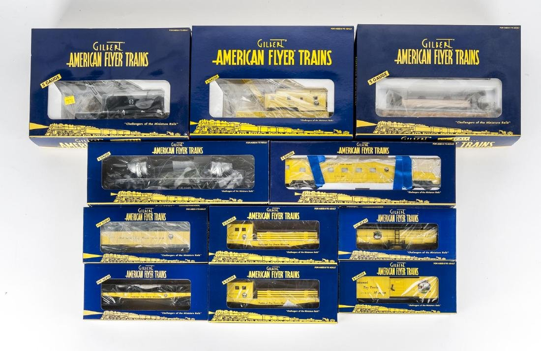 11 American Flyer Cars in OBs Incl Crane
