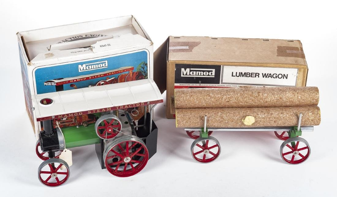 Mamod Steam Tractor & Lumber Wagon with OBs