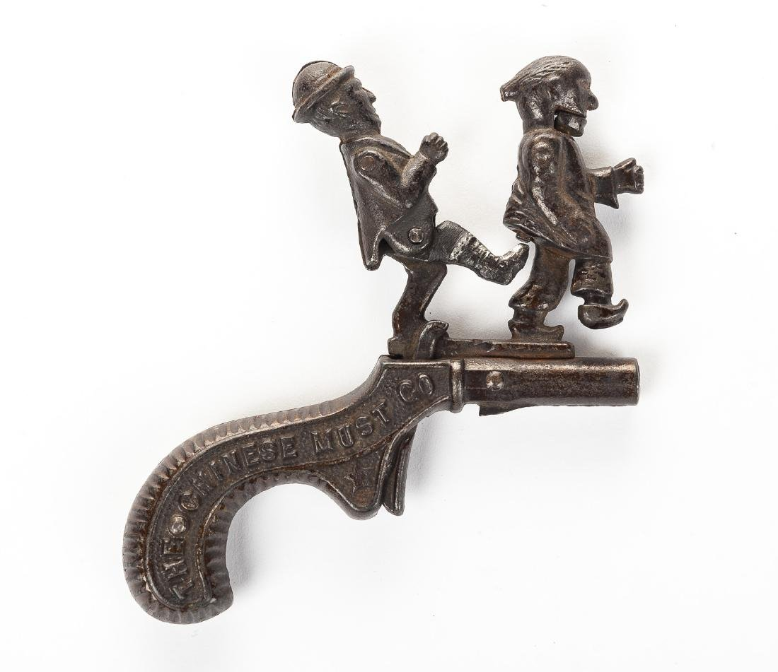 "Ives ""Chinese Must Go"" Cast Iron Cap Gun"