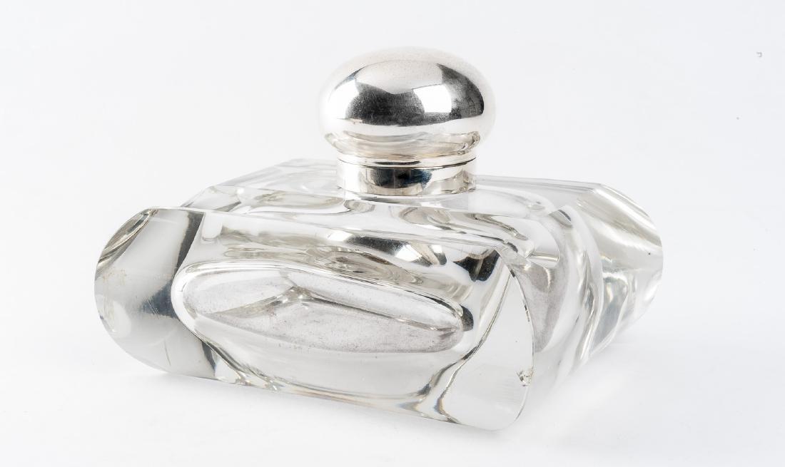 Hermann Behrnd Glass & Sterling Inkwell
