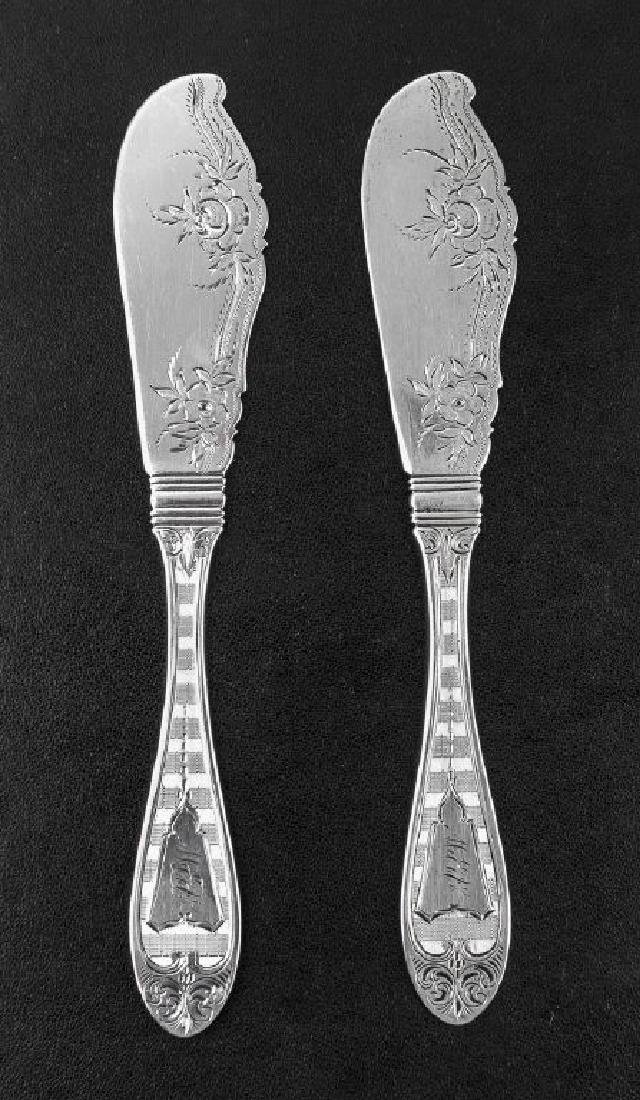 2 Victorian Coin Silver Butter Knives