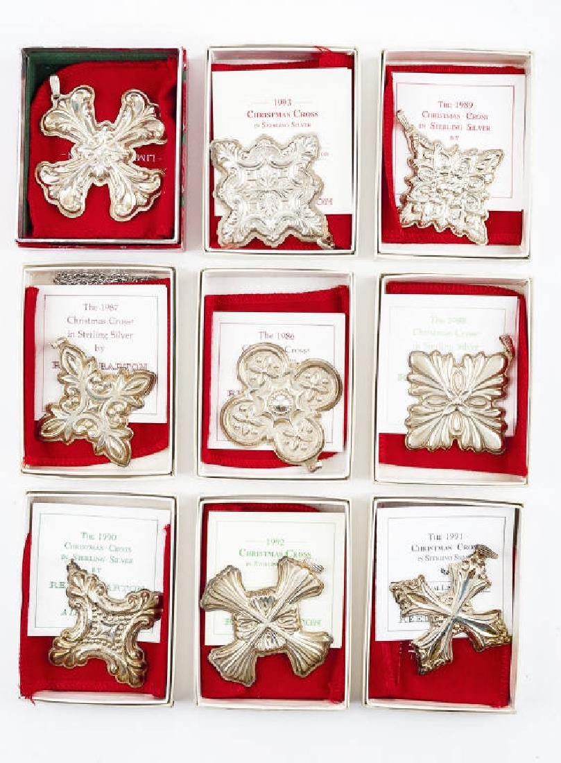 9 Reed & Barton Sterling Christmas Cross Ornaments