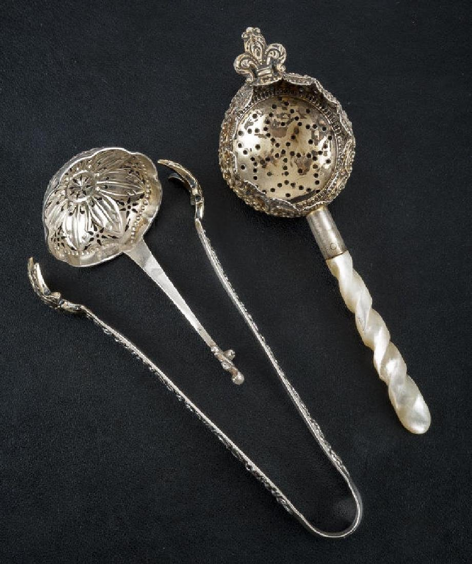 3 Pcs Sterling Table Articles Incl Tea Strainers