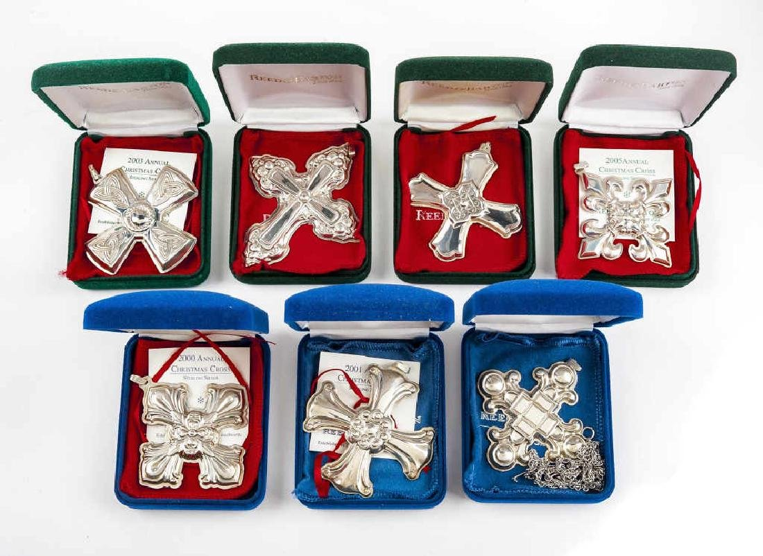7 Reed & Barton Sterling Christmas Cross Ornaments