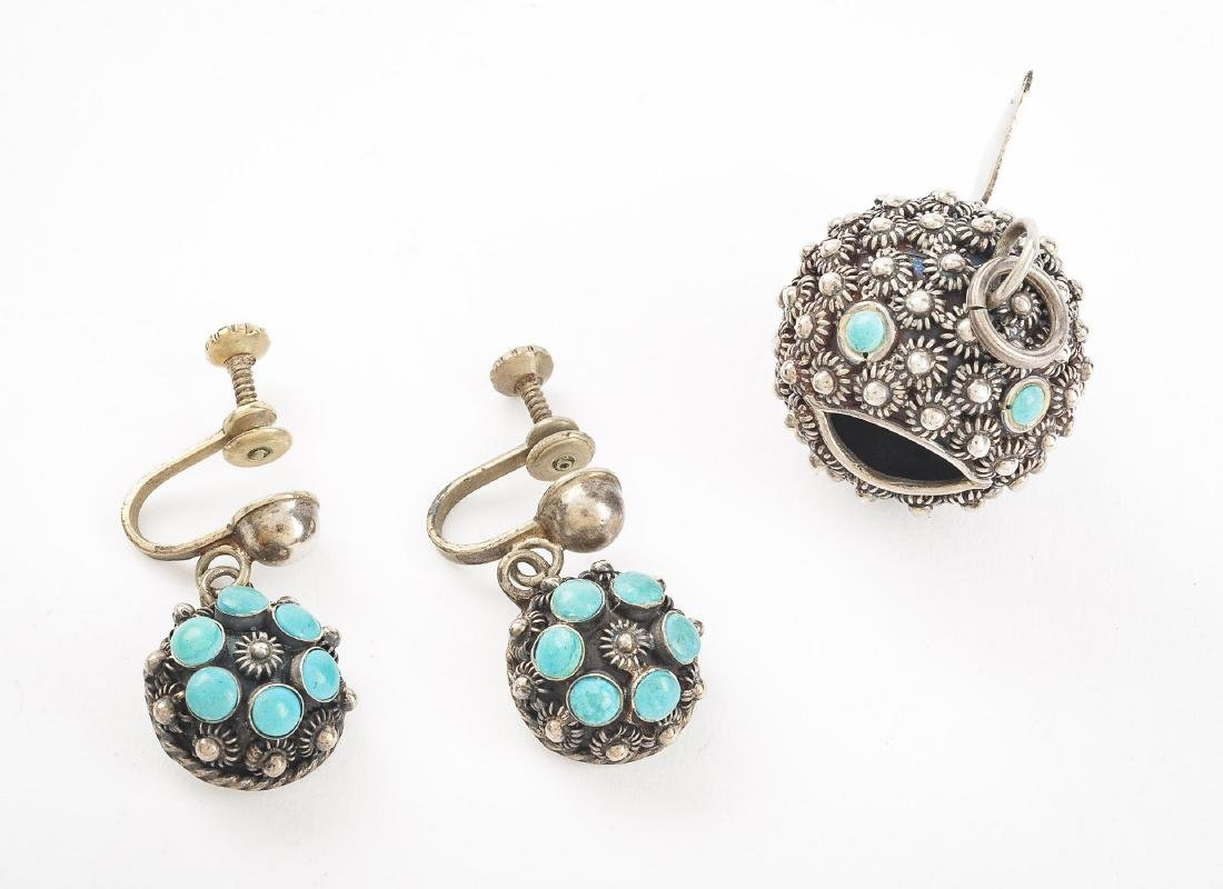 Mexican Sterling Pendant & Earrings
