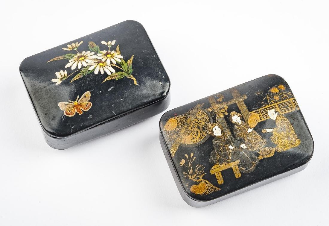 2 Black Lacquer Snuff Boxes