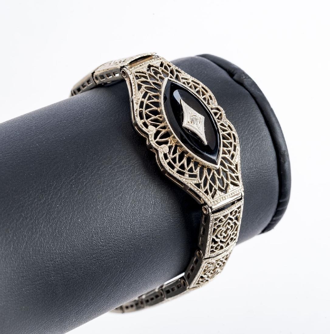 Edwardian White Gold Onyx & Diamond Bracelet