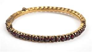 10K Victorian Garnet Bangle Bracelet