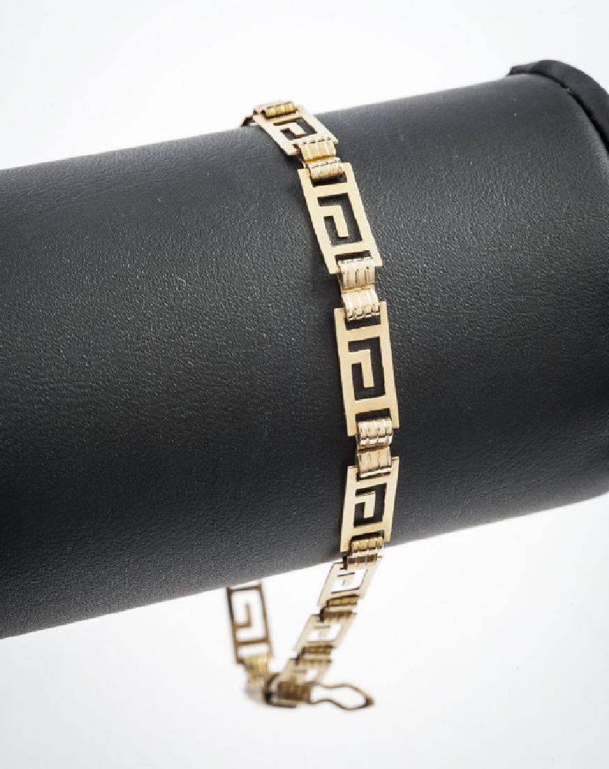 14K Greek Key Link Bracelet
