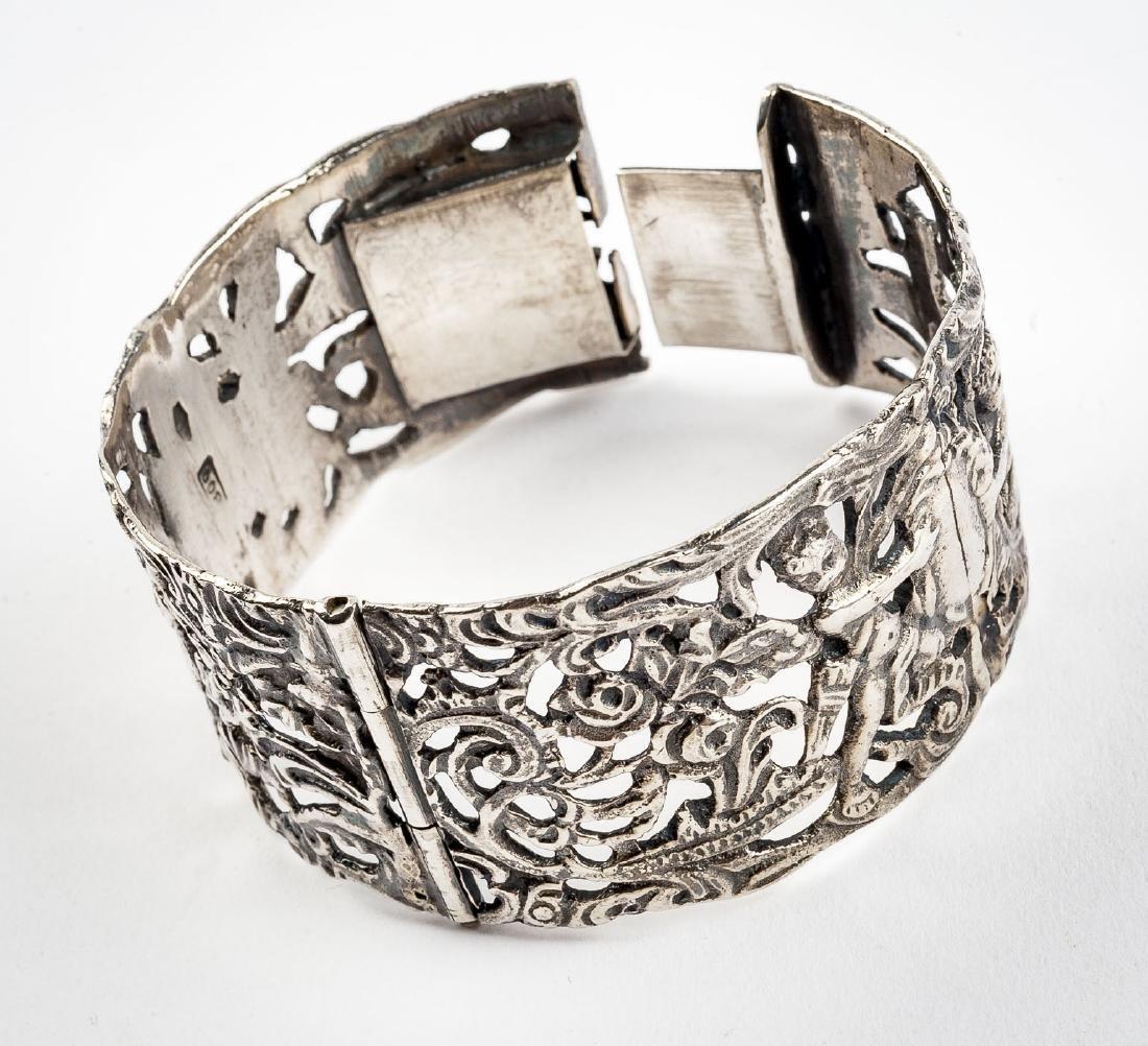 Silver Figural Bangle Bracelet