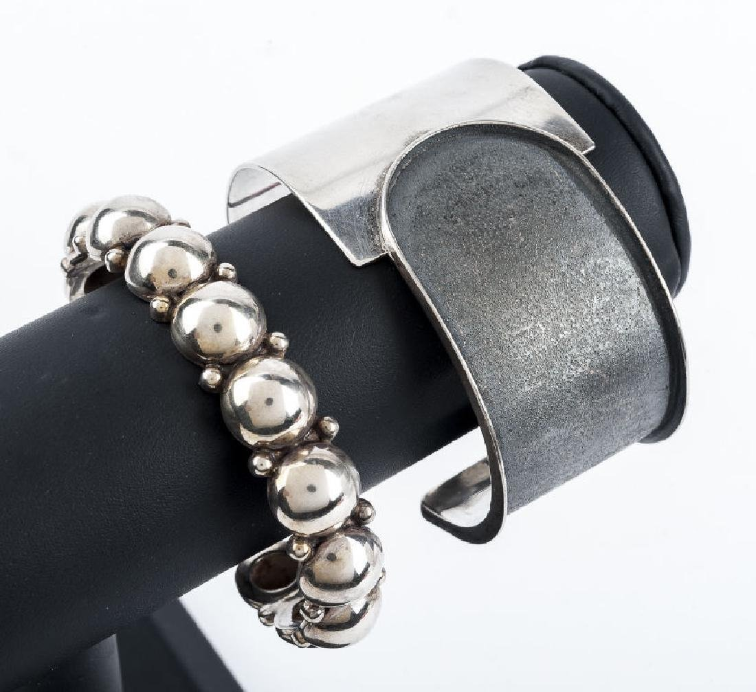 2 Sterling Modernist Cuff Bracelets