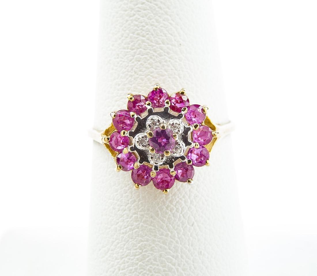14K Pink Sapphire & Diamond Flower Ring