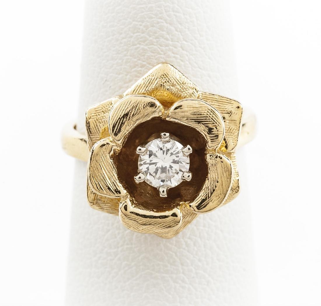 14K .32 Carat Diamond Flower Ring