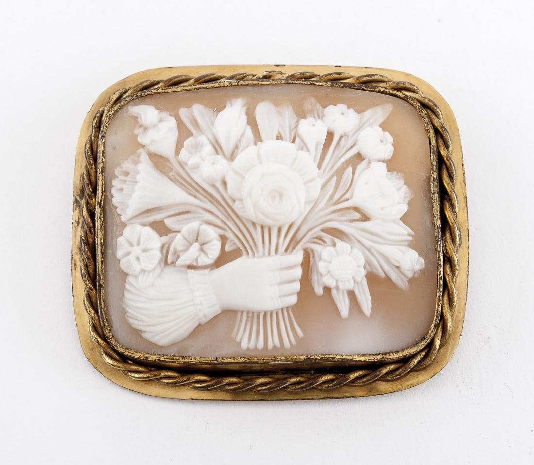 Floral Bouquet Cameo Brooch