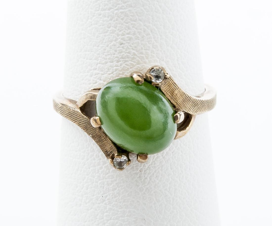 10K Green Hardstone Ring