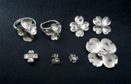 6 Pcs Vintage Sterling Pansy Jewelry