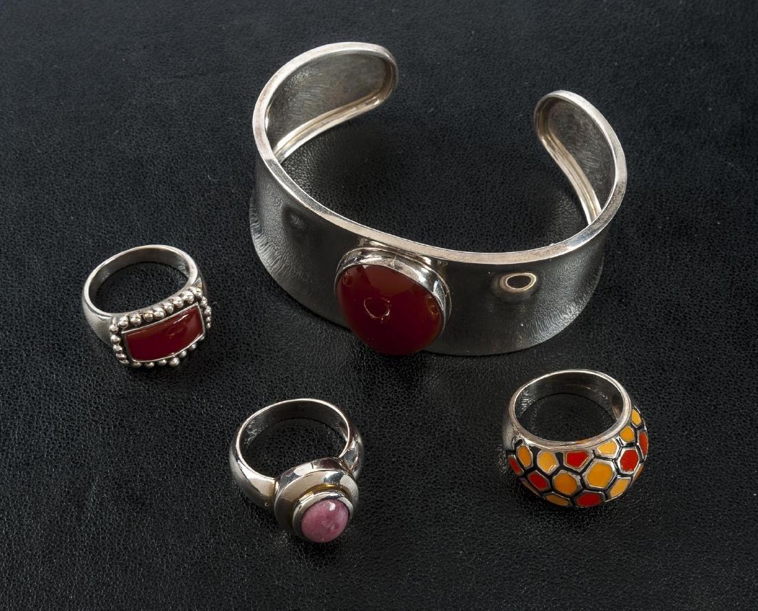 Sterling Hardstone Cuff Bracelet & 3 Rings