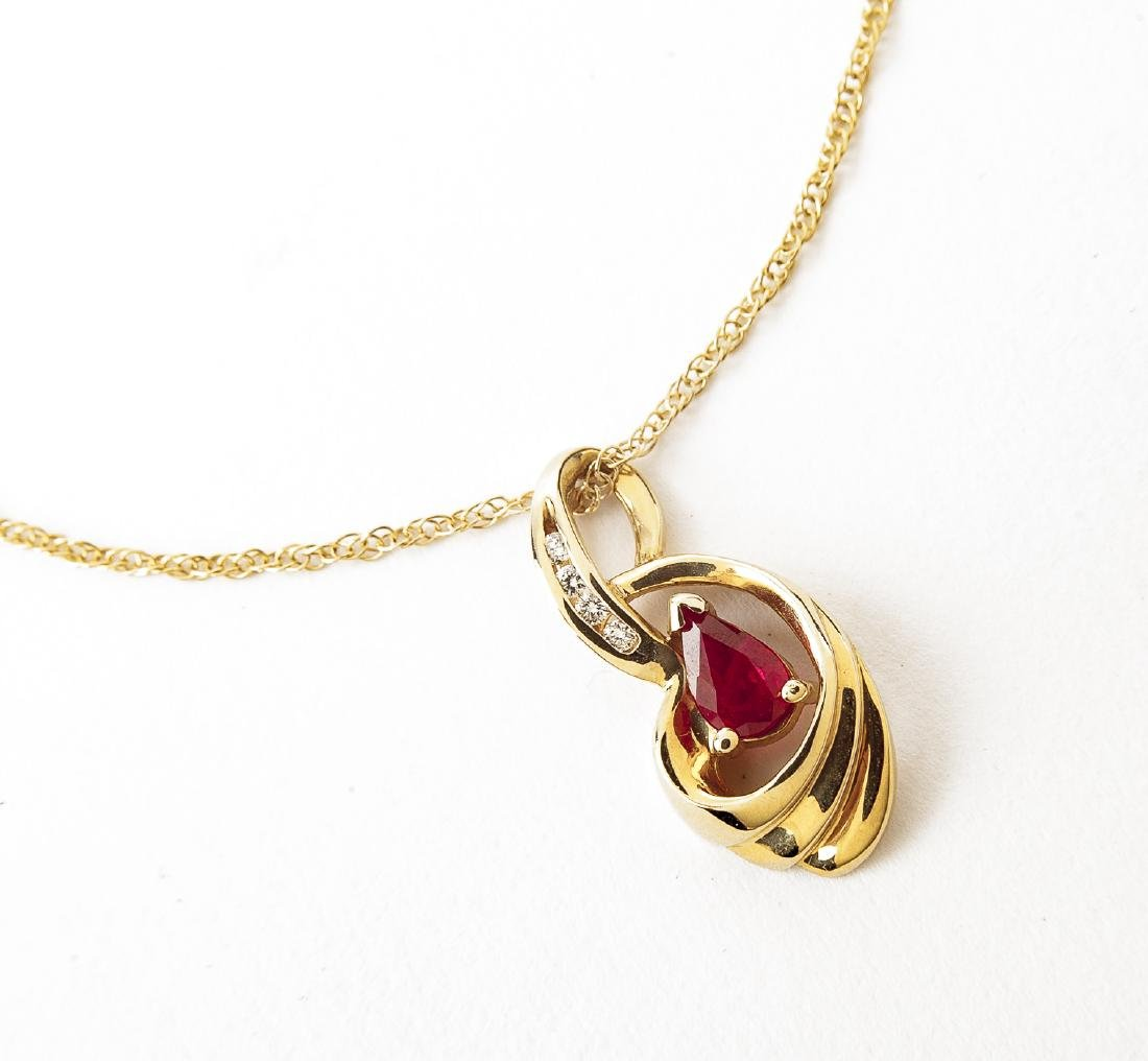 14K Ruby & Diamond Pendant Necklace