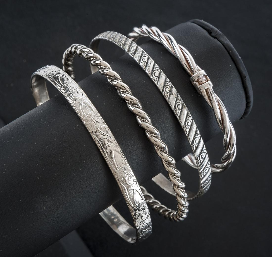 4 Silver Bangle Bracelets