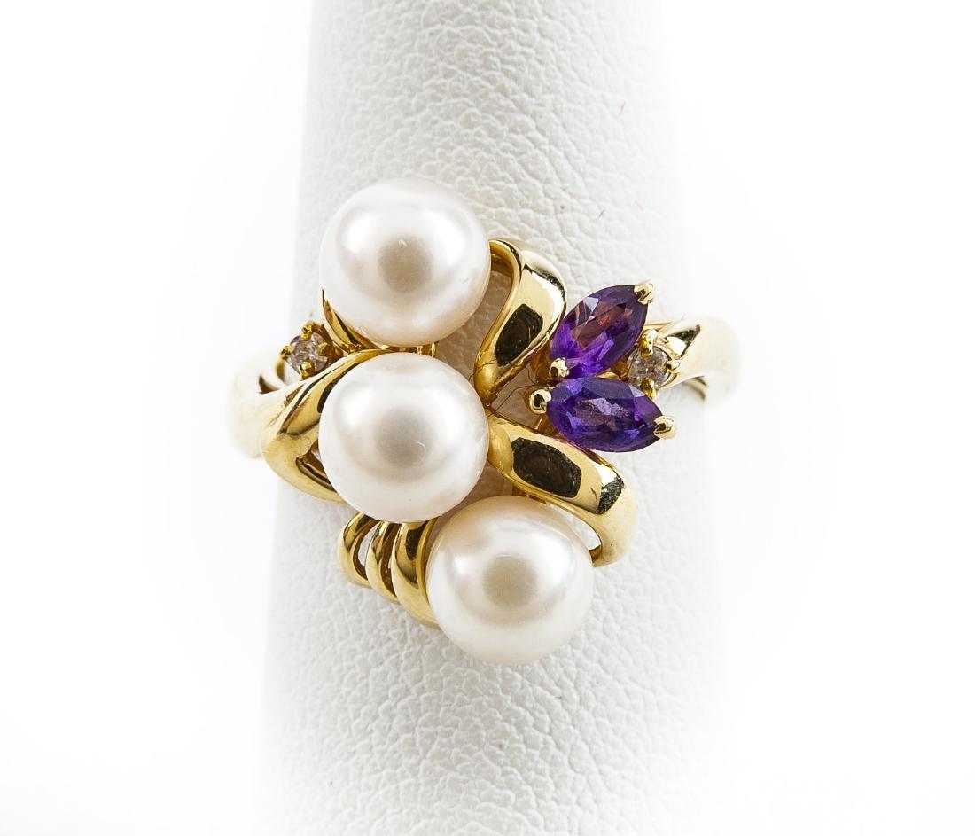 14K Pearl Amethyst & Diamond Ring