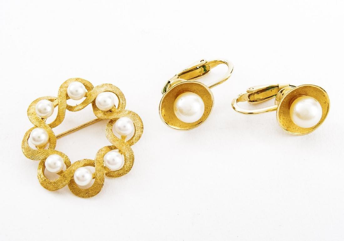 14K Pearl Brooch & Earrings