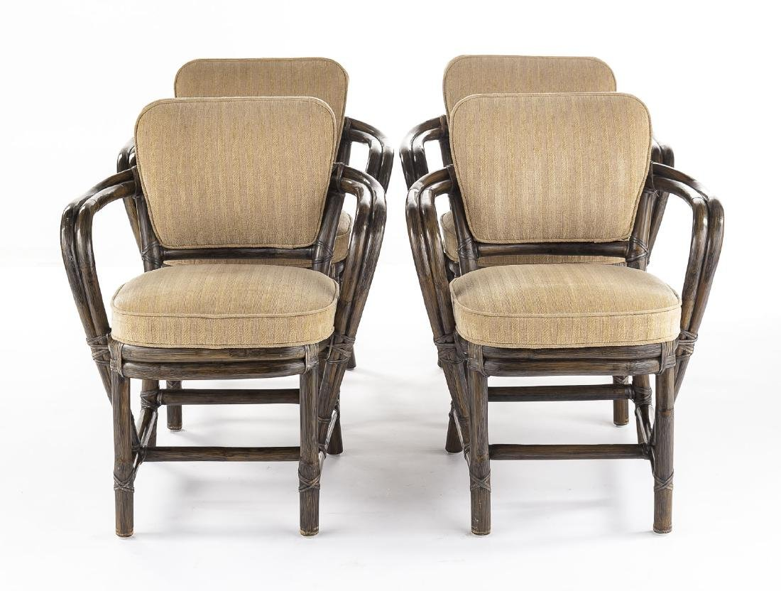 4 McGuire Rattan Arm Chairs