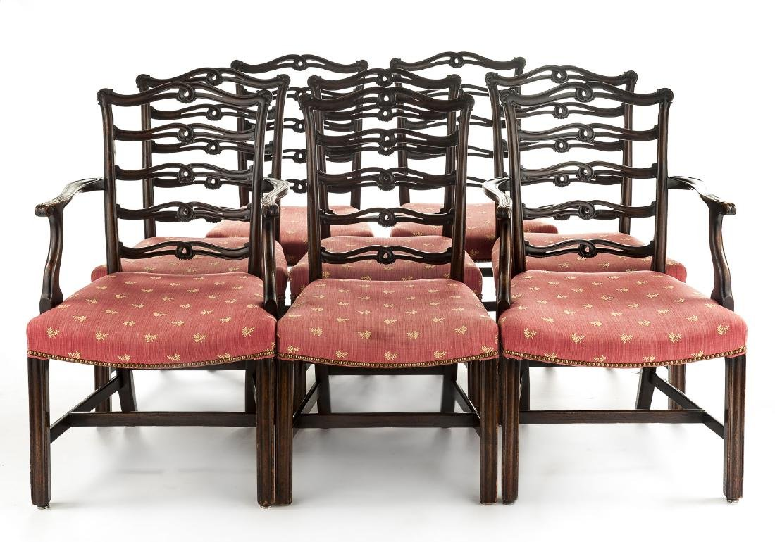 Set of 8 Chippendale Revival Ribbon Back Chairs