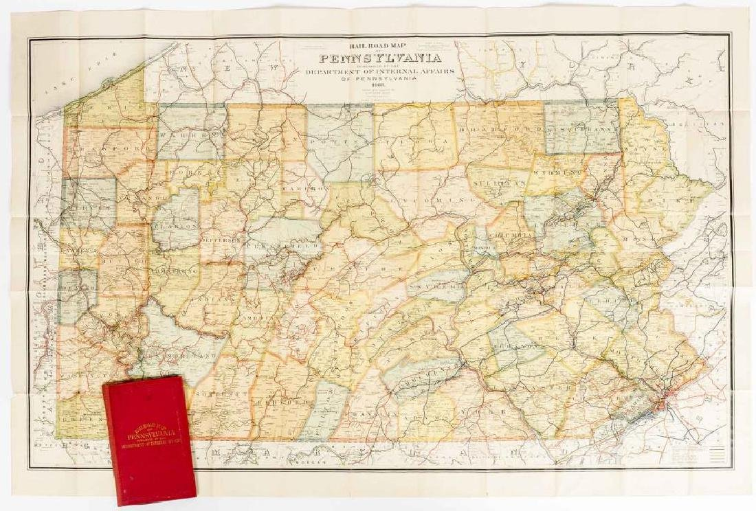 1908 Railroad Map of Pennsylvania in Portfolio