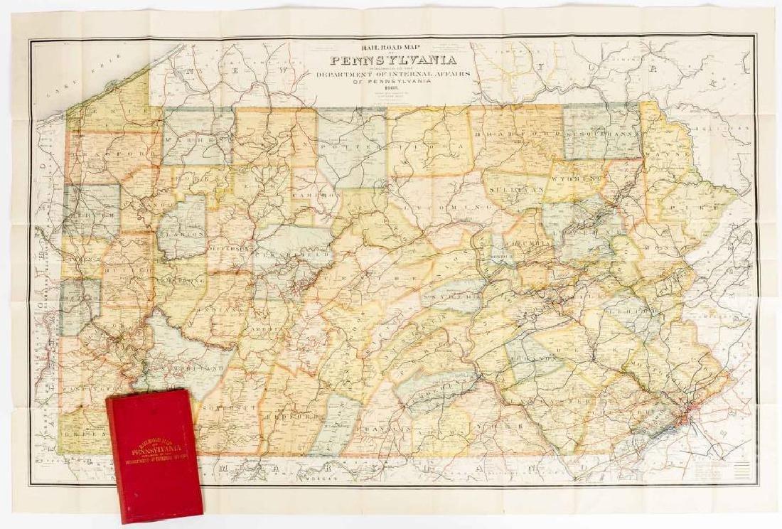 1908 Railroad Map of Pennsylvania in Portfolio