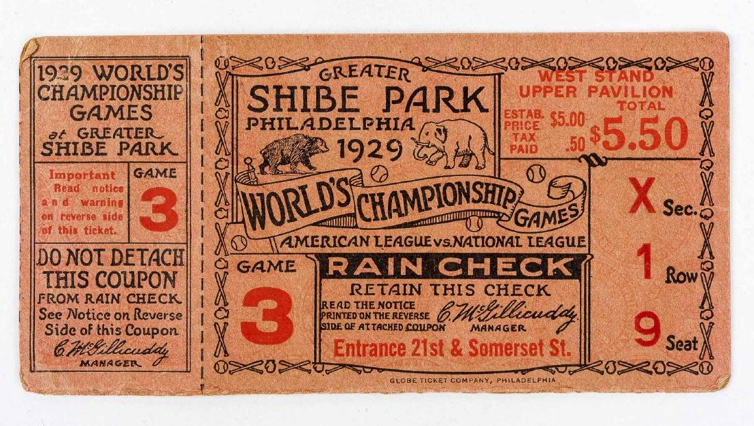 1929 World Series Ticket Stub for Shibe Park