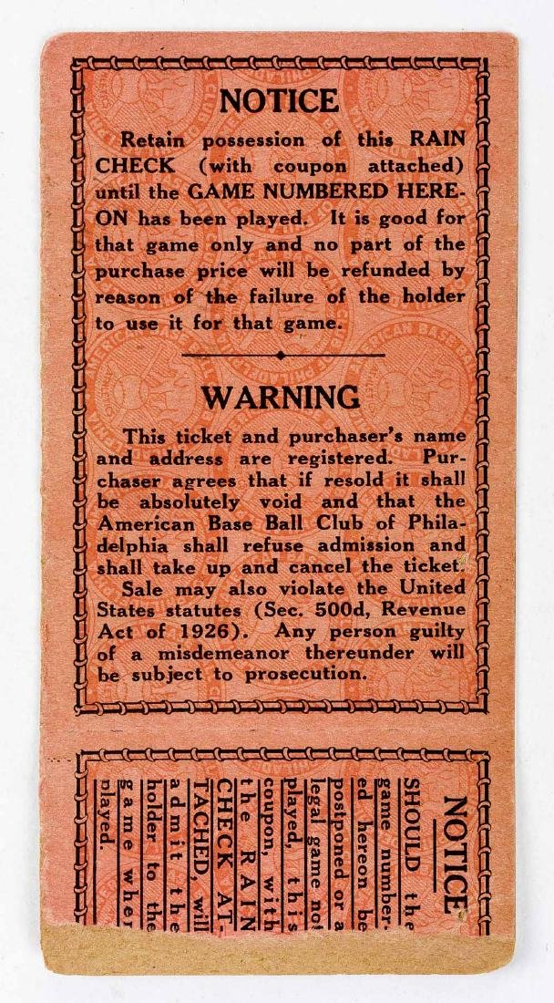 1929 World Series Ticket Stub for Shibe Park - 2