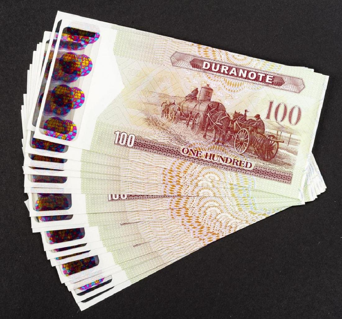 26 Duranote 100 Units Banknote Specimens