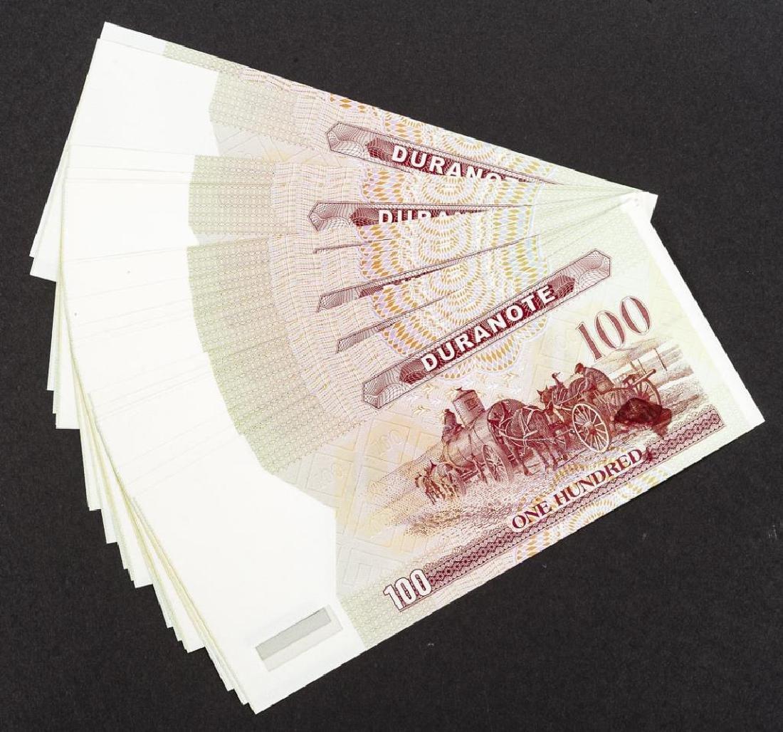 19 Duranote 100 Units Banknote Specimens