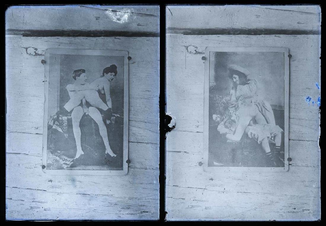 2 Early Erotic Silver Gelatin Glass Negatives - 4