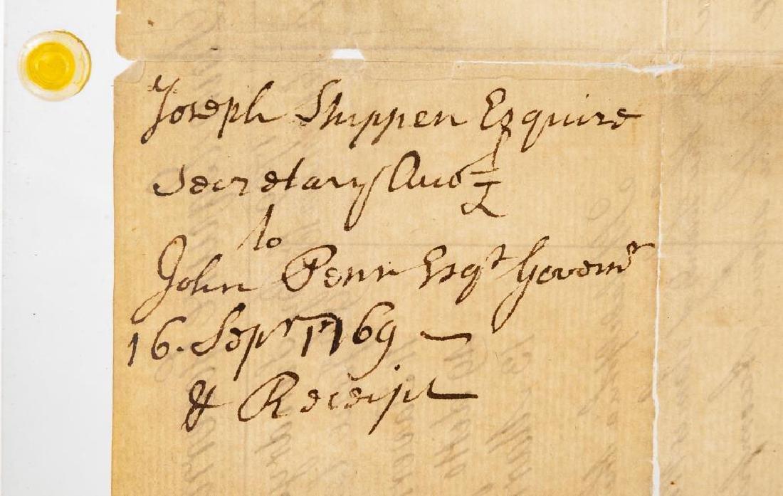 Joseph Shippen Signed Document to Gov. John Penn - 2