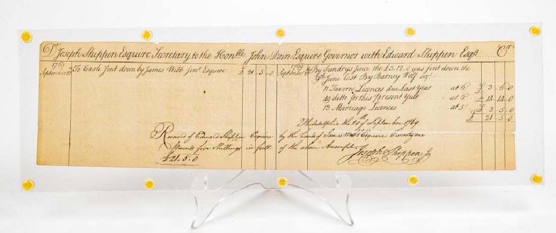 Joseph Shippen Signed Document to Gov. John Penn - 3
