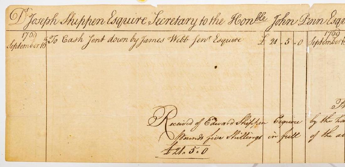 Joseph Shippen Signed Document to Gov. John Penn - 5