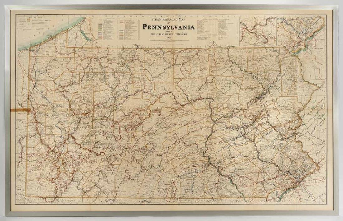 1929 Steam Railroad Wall Map of Pennsylvania