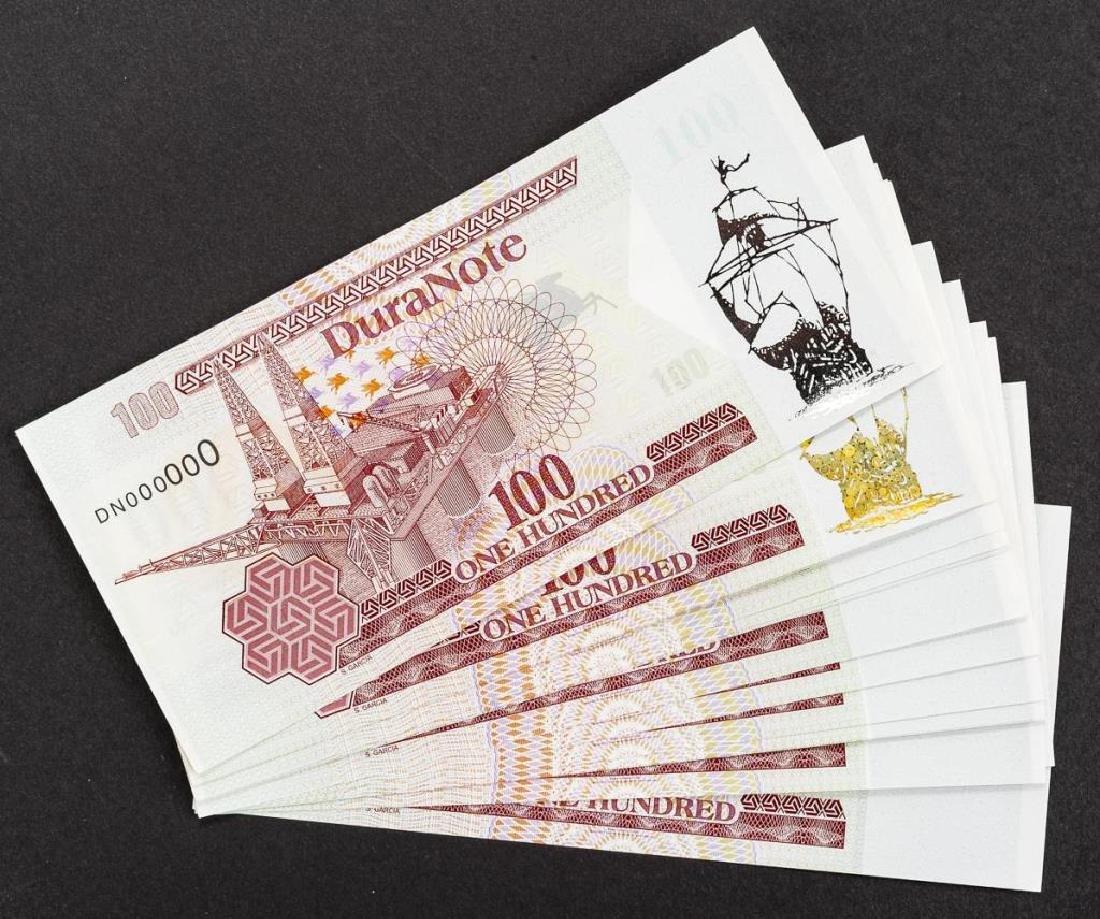 16 Duranote 100 Units Banknote Specimens