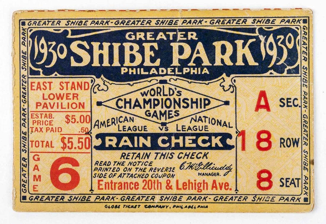 1930 World Series Ticket Stub for Shibe Park
