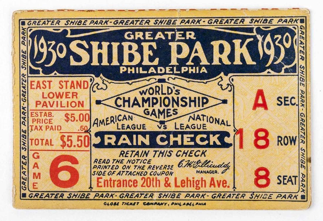 1930 World Series Ticket Stub for Shibe Park