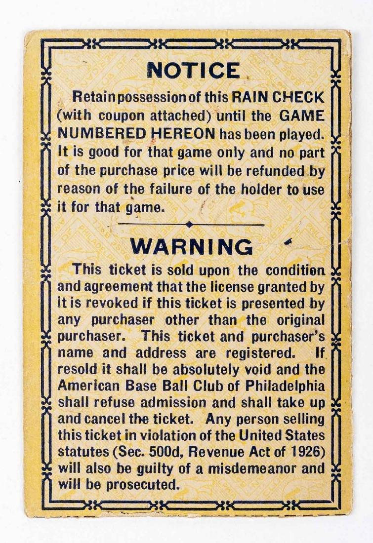 1930 World Series Ticket Stub for Shibe Park - 2