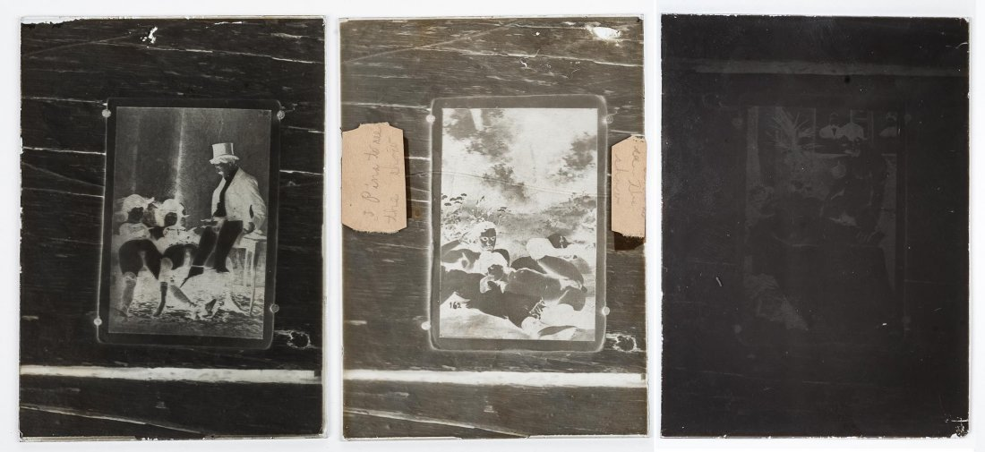 3 Early Erotic Silver Gelatin Glass Negatives