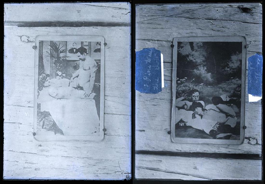 3 Early Erotic Silver Gelatin Glass Negatives - 3
