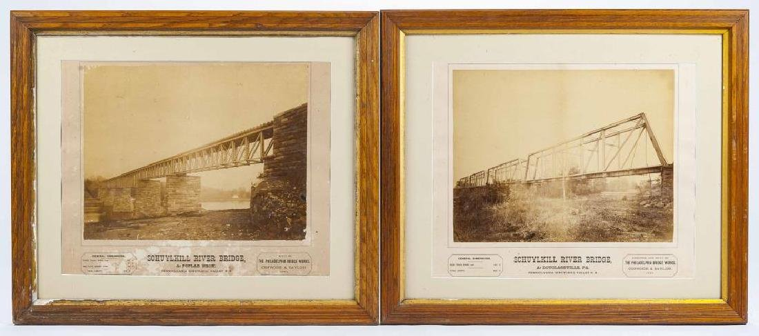 2 Albumen PRR Schuykill River Bridge Photographs