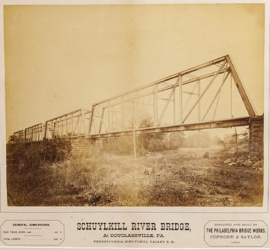 2 Albumen PRR Schuykill River Bridge Photographs - 2
