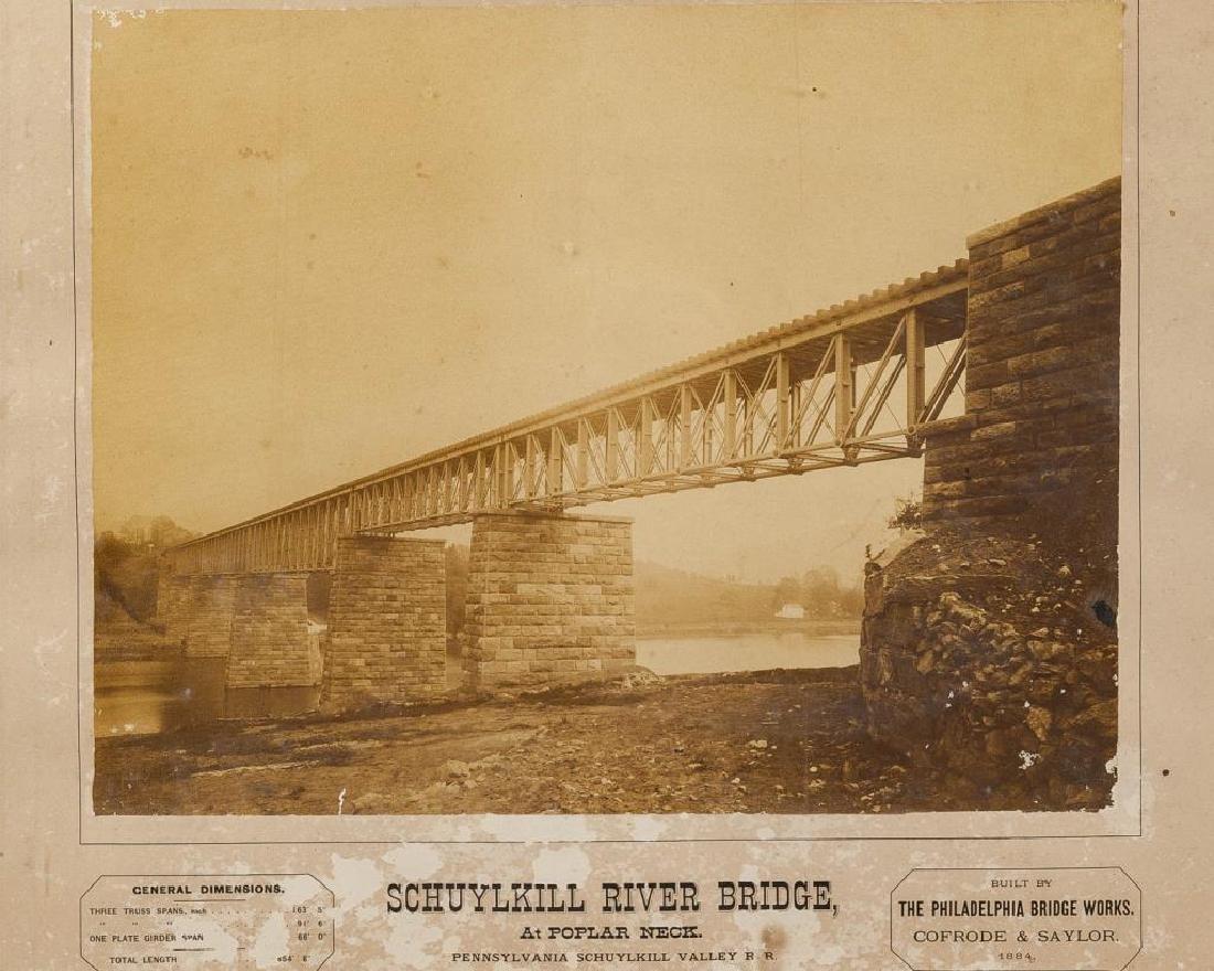 2 Albumen PRR Schuykill River Bridge Photographs - 3