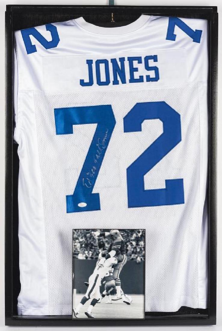 "Autographed Ed ""Too Tall"" Jones Football Jersey"