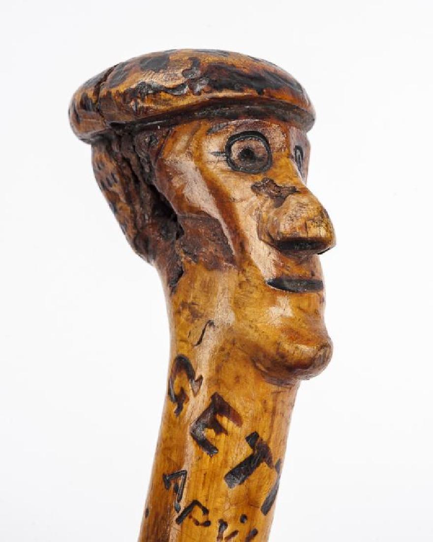 Gettysburg Carved Top Walking Cane